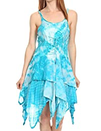 Sakkas Paige Mid Length Handkerchief Tank Top Spaghetti Strap Dress With Tie Dye