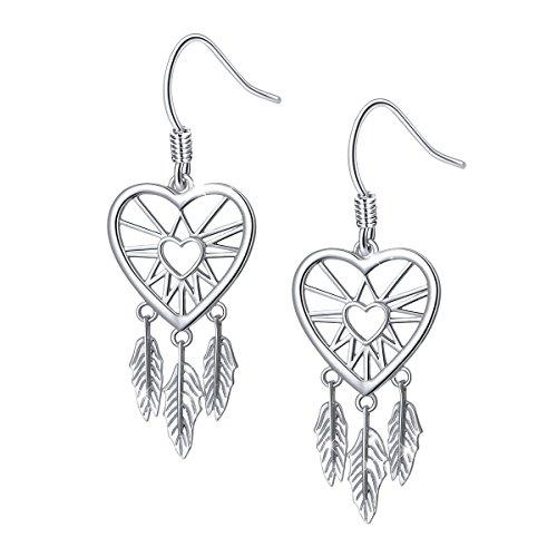 Dreamcatcher Feather Earrings (S925 Sterling Silver Dream Catcher Feather Forever Love Heart Earrings)