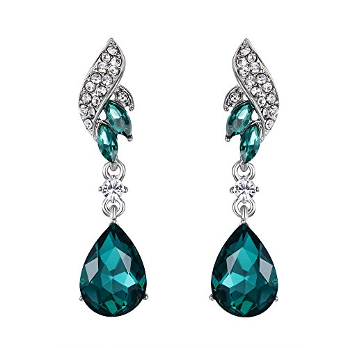 - BriLove Silver-Tone Dangle Earrings for Women Wedding Bridal Crystal Floral Leaf Scroll Teardrop Chandelier Earrings Emerald Color