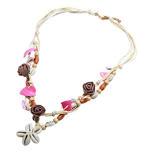 Sacow Shell Necklace, Bohemian Retro Natural Freshwater Shell Leather Rope Necklace Ladies Jewelry ()
