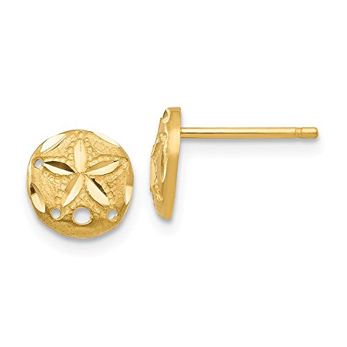 14k Yellow Gold Sand Dollar Sea Star Starfish Post Stud Earrings Ball Button Animal Life Fine Jewelry Gifts For Women For Her
