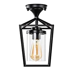 Farmhouse Ceiling Light Fixtures HMVPL Farmhouse Semi Flush Mount Ceiling Lights, Black Close to Ceiling Lamp with Glass Lampshade for Bedroom Kitchen… farmhouse ceiling light fixtures