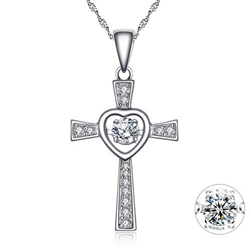 MABELLA 925 Sterling Silver Cross Heart Pendant Necklace Dancing Stone for Men/Women