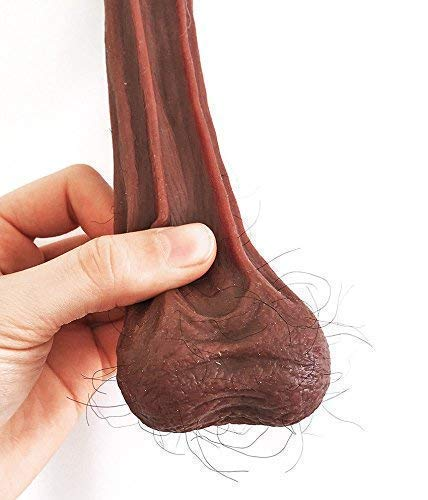 HAIRY Fake Black Brown Testicles Balls Prank Stretchy Silicone Nuts