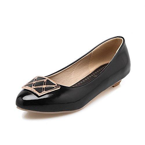 MEI&S Femmes Pointy Toe Talon Bas Chaussures Bouche Peu Profonde Black zJxbV