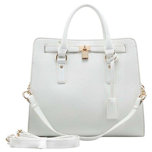 - FASH Limited Padlock Crosshatch Texture Work Handbag - White
