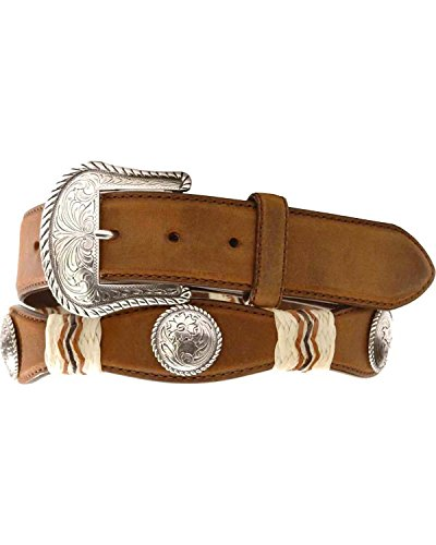 Tony Lama Men's Concho Rawhide Leather Belt Reg And Big Brown 40 - Silver Concho Belt