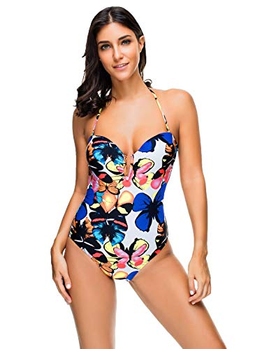 Wellwits Women's Butterfly Print Halter Tie Slit Neck One Piece Swimsuit M