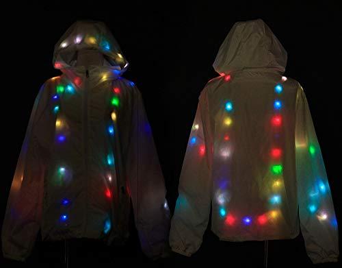 Cappotto Giacca m Halloween L Party Con Festival Da Bianco uomini Vestiti Wqwlf Donne Leggero Luminosa Parte Colorata Cappuccio Multicolor Superiore Led Di 1CztwX