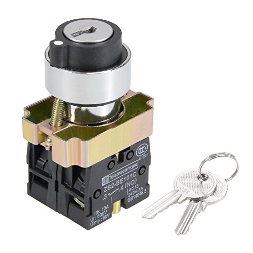 uxcell 22mm 3 Positions Key Locking Push Button Switch W Key DPST