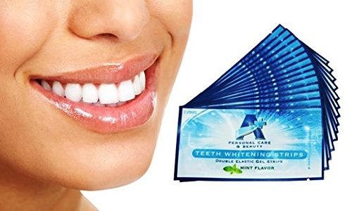 Sparkling White Professional Strength 6%HP Teeth Whitening Strips - Elastic Strips plus Advanced Whitening Formula = Great Results! 28 Strips (14 Upper and 14 Lower) Free Teeth Shade Guide Included. by Sparkling White Smiles (Image #1)