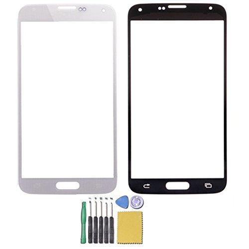 JingXiGuoJi® Front Screen Glass Outer Lens Repair Replacement for Samsung Galaxy S5 SM-G900H i9600 (White)