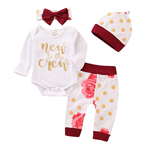 Newborn Girl New to The Crew Outfits Long Sleeve Romper Floral Pants Headband Hat 4pcs Sets (New to The Crew, 0-3 Months) -
