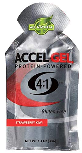 PacificHealth Accel Gel, All Natural Protein-Powered Rapid Energy Gel for Instant Energy During Intense Workouts – Box of 24, 1.3 Ounce Packets (Strawberry Kiwi)