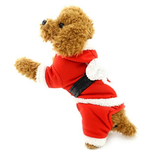 Ranphy Small Dog Xmas Apparel Santa Suit for Cats Chihuahua Hoodie Halloween Costume Puppy Jumpsuit Four Legged Doggy Outfits XS