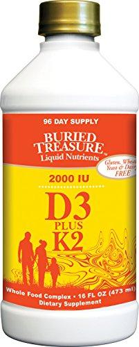 Buried Treasure Liquid Vitamin D3 Plus K2 Naturally Sourced D3 2,000 IU plus 80 mcg K2 (MK7) per 5ml serving - 96 servings - 16 fl oz