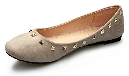 Grande Chaussures Rapidoshop Dm6d Ballerines Femme Cloutées Gris 52 Pointure 1IxwOqFndx
