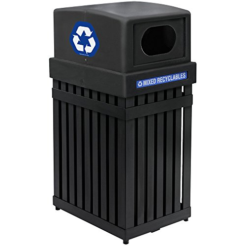 Commercial Zone 72700199 ArchTec Parkview Black Trash / Recycling Receptacle - 25 ()
