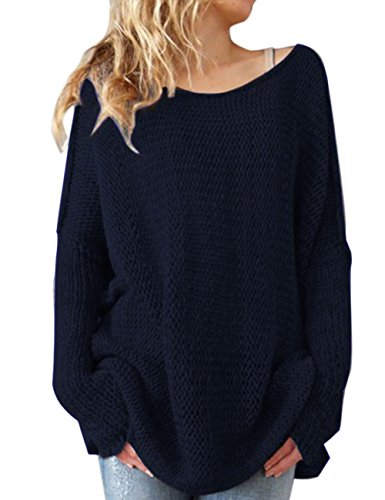 shermie Women Oversized Knitted Sweater Long Sleeve Crew Nec