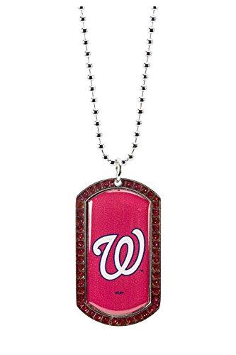 MLB Washington Nationals Glitter Stone Dog Tag Necklace Base