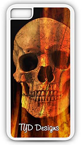 - iPhone 8 Case Flaming Skull Danger Crossbones Customizable TYD Designs in White Plastic