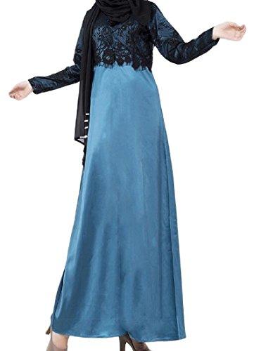 Abaya Lago Due Vestito Coolred Di Blu Pizzo Medio In Falso Musulmano donne Oriente q1Pvg0