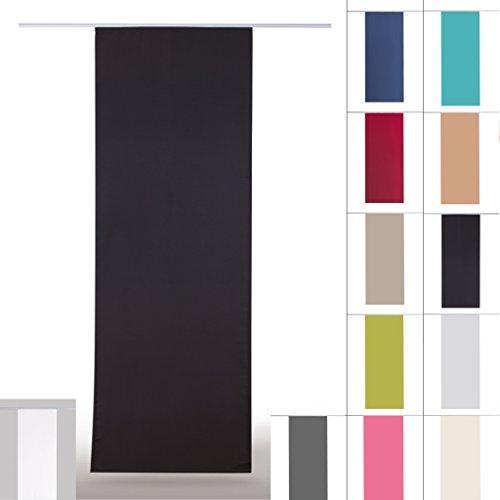 Flächenvorhang blickdicht Schiebegardine Raumteiler Schiebevorhang ca.60cm x 245cm, Auswahl: mit Technik Auswahl, schwarz - jet black
