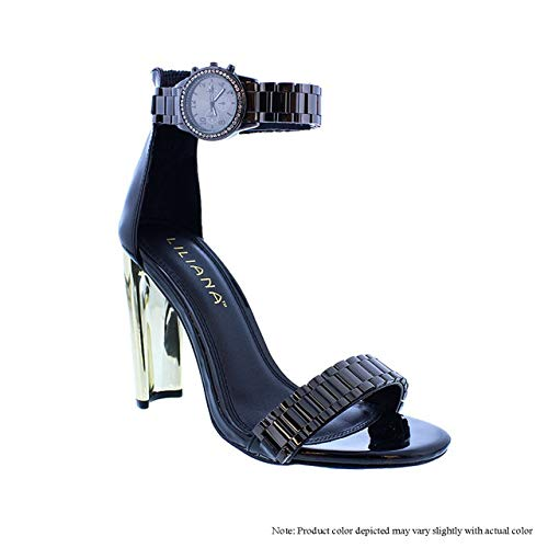 Liliana Women's Classy Ankle Strap Watch Style High Heels Open Toe Stiletto Sexy Heeled Chain Look Strappy Sandals Daline-15 (8, Black)