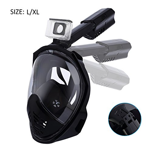 ESHOWEE Snorkel Mask 180°Full Face AntiFog and AntiLeak Foldable Free Breathing Dry Top Set Mask for Adults & Kids