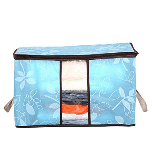 Goddessvan Foldable Storage Bag Clothes Blanket Quilt Closet Sweater Organizer Box Pouches With Lid (H)
