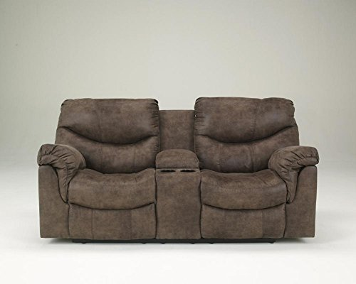 - Ashley Furniture Signature Design - Alzena Recliner Loveseat with Console - Manual Reclining Couch - Gunsmoke Brown