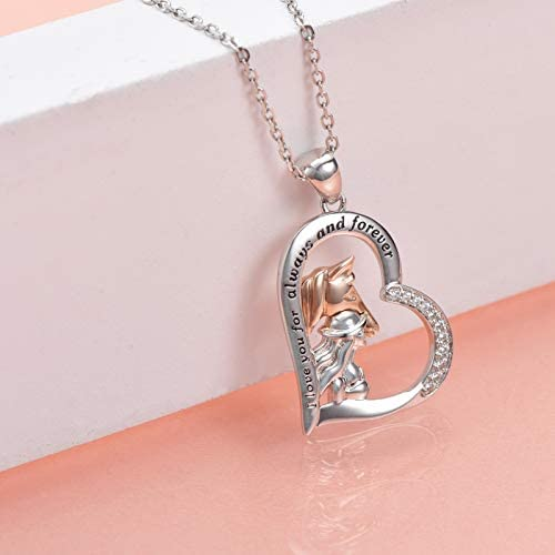 Love Heart Silver Horse Unisex Pendant Box Chain Necklace Jewellery Xmas Gifts