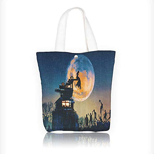 Women's Canvas Tote Bag, Dead Queen in Castle and Zombies in Cemetery Love Affair Bridal Halloween Ladies Top-handle Handbags, work school Shoulder Bag W11xH11xD3 INCH -