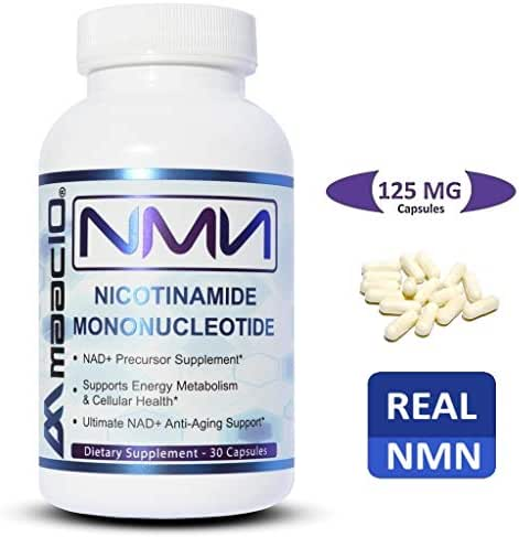 MAAC10 125mg NMN Nicotinamide Mononucleotide Supplement. The Most Powerful NAD+ Precursor. Promotes Anti-Aging DNA-Repair, Sirtuin Activation & Energy Metabolism. (30 Capsules)