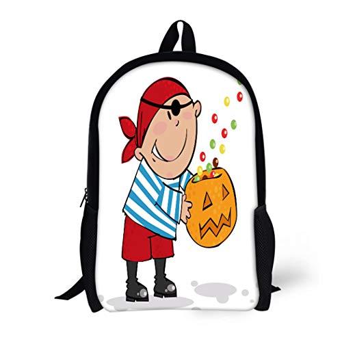Pinbeam Backpack Travel Daypack Orange Costume Trick Treat Halloween Pirate Boy Autumn Waterproof School Bag ()