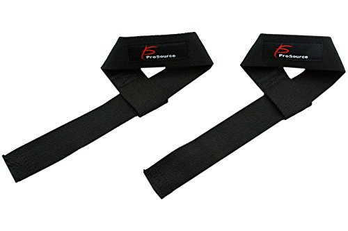 ProSource Cotton Weight Lifting Wrist Straps, (Down Pull)