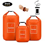 Gonex Waterproof Dry Bag Floating Roll-Top Dry Sack Stuff Sack Storage Bags for Kayaking Boating Canoeing Swimming Water Sports 4L+8L+12L with a Phone Pouch & Shoulder Strap Orange