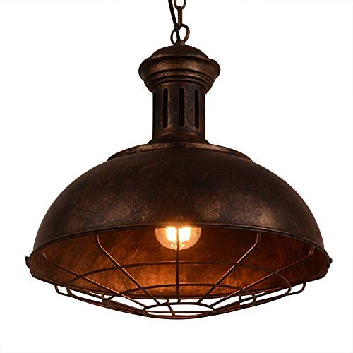 Neo-Industrial Nautical Barn Cage Pendant Light – LITFAD 16 Single Pendant Lamp with Rustic Dome Bowl Shape Mounted Fixture Ceiling Light Chandelier Hanging Lights in Rust