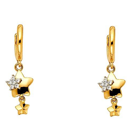 Star Dangle Earrings Solid 14k Yellow Gold Huggie Hoops Round Flower CZ Diamond Cut Style Fancy 30 x 8 mm