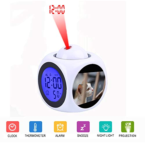 JLHEB Projection White Alarm Clock Digital LCD Display Voice Talking Table Clocks Temperature Snooze Function Desk White and Gray Tabby Cat Behind Fence (Talking Cat Clock)