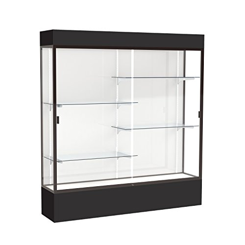 (Waddell Spirit Lighted Floor Display case, 72 inches Wide, Black)