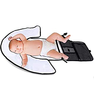 Baby Portable Changing Pad Lightweight Travel Diaper Station Kit with Waterproof and Cushioned Pad | Foldable with Pockets | Changing Organizer Bag for Toddlers Infants & Newborns.