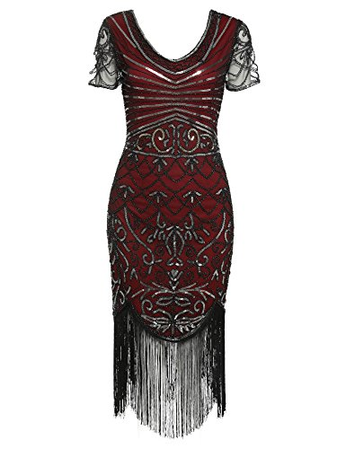 1920s Flapper Dress Vintage V Neck Sequin Fringe Cocktail Gatsby Dresses (Burgundy Short Sleeve, XL) -