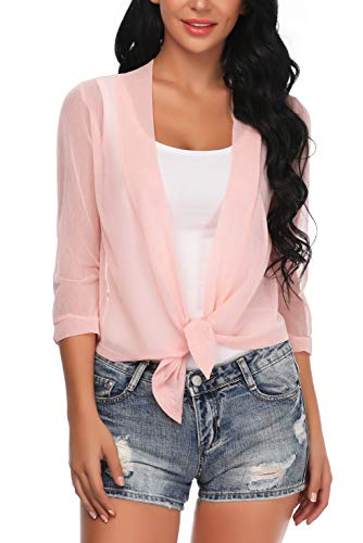 - Aranmei Womens Sheer Shrug Cardigan Tie Front 3/4 Sleeve Bolero Jacket(Pink, Medium)
