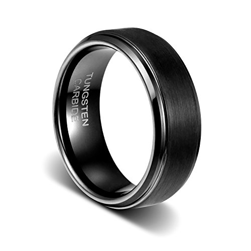 TUSEN JEWELRY 8mm Black PVD Coated Tungsten Ring Step Edges Mens Wedding Band Size:7.5 - Men Tungsten Step Edges