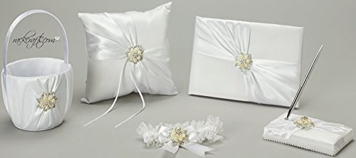 rackcrafts.com Wedding Anniversary Bridal 5 Set Basket Pillow Guest Book Garter Pen by rackcrafts.com