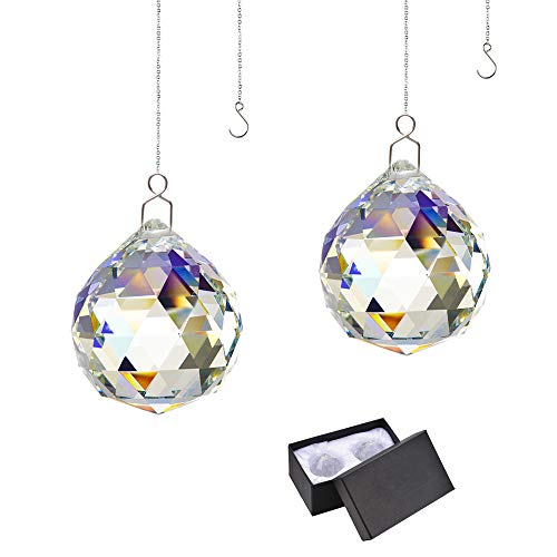 Rainbow Suncatcher Crystal Ball Prism - Window Suncatcher Feng Shui Crystal Glass Ball Pendant 40mm for Hanging Clear Pack of -