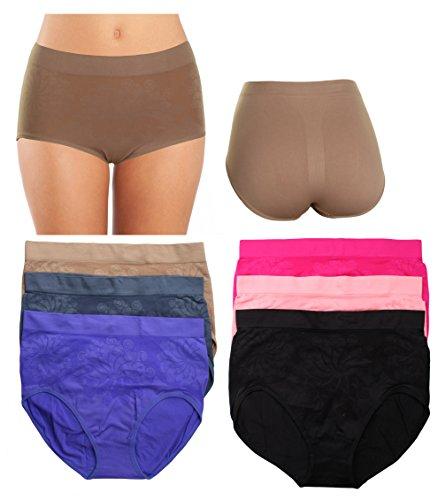 Gilbins Women's Plus Size Seamless High-Waisted Girdle Panties Briefs Cut Brief (XXXX-Large, (High Cut Briefs Underwear)