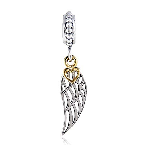 Angel Wing Charms with Gold Plated Heart 925 Sterling Silver Feather Pendant Dangel Christian Charm for DIY Charms Bracelet - Sterling Silver Gold Feather