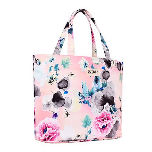 Lvtree Tote Shoulder Bag Handbag, Foldable Wallets Purse Bag for Outdoors Gym Hiking Picnic Travel Beach, Wash Painting Pink Penoy (Floral Beach Bag)